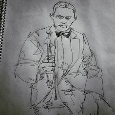 Been a while since I added to my #jazz #portrait #drawing series. This is #trumpet dude #bixbiedeebeck