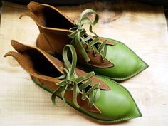 UK 4, D fitting, handmade fairytale boots, Larch green, Peanut butter leather, MOTH 1711 by Fairysteps