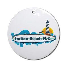 Indian Beach NC - Surf Design Ornament (Round) on CafePress.com