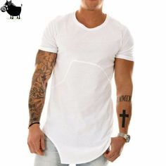 Man Si Tun  Fashion Brand Kanye West soild Color irregular Hip Hop streetwear Swag tyga Men T-shirt Cotton Short Sleeve T shirt #Affiliate