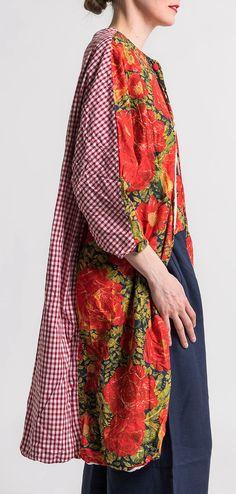 Daniela Gregis Cotton Red Rose Floral/Plaid Jacket in Multicolor | Santa Fe Dry Goods #danielagregis #cotton #red #rose #floral #plaid #spring #summer #fashion #style #clothing #santafe #santafedrygoods