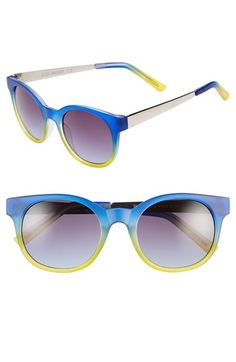 Women's Steve Madden 50mm Retro Sunglasses - Navy Lime