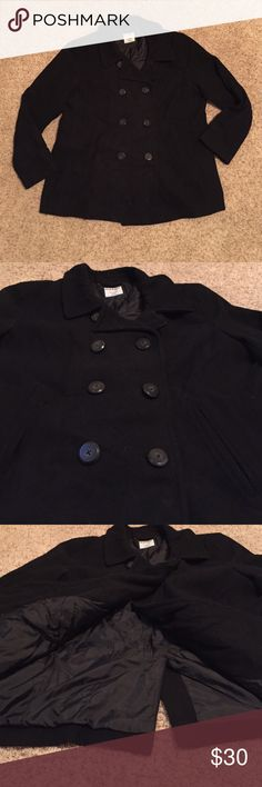 Old Navy Black Classic Pea Coat Gently Worn • Black • Classic Pea Coat • Buttons in Front • True to Size Old Navy Jackets & Coats Pea Coats