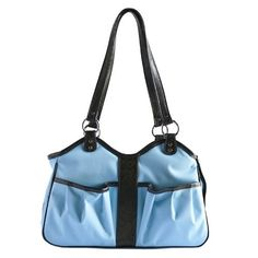 Petote Metro Dog Carrier Bags with 2 Open Pockets, Turquoise Blue, Large