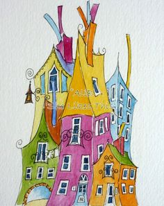 Colourful Houses An original watercolour painting by shelikesthis House Doodle, Wal Art, Watercolor Architecture, Watercolour Painting, Watercolours, Storybook Cottage, Whimsical Art, Art Techniques, House Painting