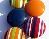 Set of 8 Hand Painted Drawer Knobs: Striped and Solid in Red, Green, Orange and Navy Blue