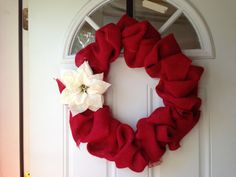 Red burlap and poinsettia Christmas holiday wreath by APieceofHome