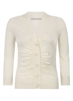 Ruched Front Cardigan in Eggshell