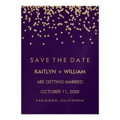 Glam Gold Confetti and Deep Purple Save the Date