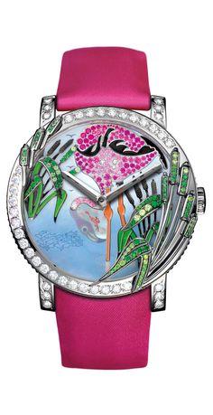 Boucheron Crazy Jungle Flamingo Watch    Watch in white gold set with diamonds, sapphires and tsavorites.