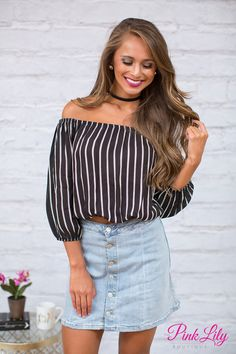 Crop tops are so lightweight and perfect for warm summer days outdoors - you're going to love this brand new addition to our collection! Featuring black fabric paired with white stripes, this classic color combination is so easy to pair with jeggings, shorts, and capris for a fab look!