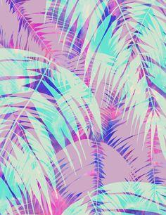 Maui Palm {Pink A} Art Print by Schatzibrown #tropical #pink #palm #schatzibrown # pattern