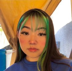 Pin on Hair Hair Inspo, Hair Inspiration, Dyed Bangs, Hair Color Streaks, Neon Hair Color, Curly Hair Styles, Natural Hair Styles, Grunge Hair, Aesthetic Hair
