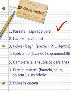 Da stampare: elenco delle pulizie importanti