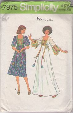 Simplicity 7675 Vintage 70's Sewing Pattern INCREDIBLE Slit Bell Tassel & Ribbon Trimmed Hippie Caftan, Maxi Gown, Patchwork Bodice Dress   #MOMSPatterns