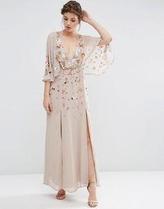 8854 Изображение 1 из Декорированное платье-кимоно макси с глубоким вырезом ASOS