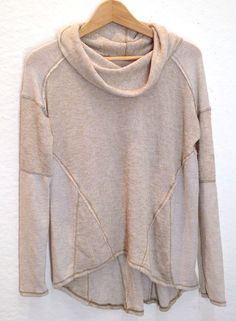 Boho chic! We the Free People Beatnik Hacci Slouchy Turtleneck Sweater Top S P Cream New #FreePeople #CowlNeck