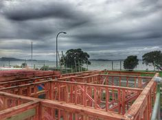 Framing is going up at the Lover Dreamer beach house... Making progress!