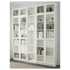 IKEA BILLY/OXBERG bookcase Adjustable shelves, so you can customise your storage as needed. Bookcase With Glass Doors, Glass Cabinet Doors, Glass Shelves, Wall Shelves, Shallow Shelves, Narrow Shelves, Floor To Ceiling Bookshelves, Libreria Billy Ikea, Ikea Bookcase