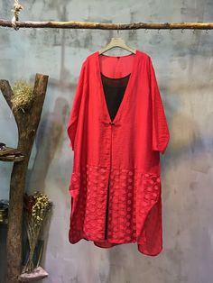 High-End Dot Applique Elegant Cardigan V-neck Loose Chinese Outerwear  #red #loose #Chinese #v-neck #applique #embroidery #elegant #vintage #retro #outerwear #cardigan