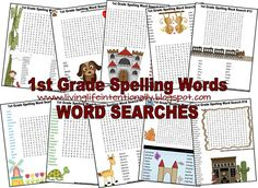 FREE Spelling Word Searches–1st Grade. This is such a fun free printable worksheet for kids to practice spelling words. (homeschool, spelling)