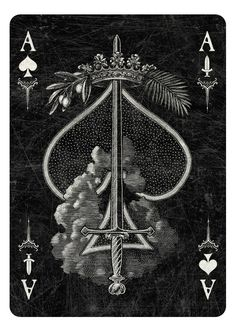 Arcana Playing Cards by Chris Ovdiyenko - -Kickstarter.  Playing cards inspired by the Tarot. Arcana is a new deck of custom hand-drawn playing cards printed by USPCC.  Ace of Spades/Swords dark