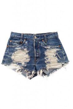 Urban Eclectics Women's Shredded Vega Vintage Levi's Shorts-Blue Denim-S Distressed Denim Shorts, Ripped Jean Shorts, Denim Cutoff Shorts, Waisted Denim, Studded Shorts, Dark Denim, Studded Denim, Blue Denim, Denim Jeans