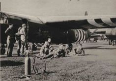 Troops waiting to be loaded into Horsa gliders for Operation Market Garden. See more here: http://wp.me/p2Qfae-PX