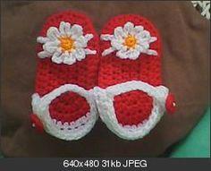Free Crochet Red Baby Sandals Pattern: http://www.crochetville.org/forum/showpost.php?p=2302253&postcount;=1