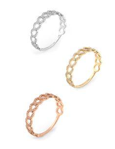 Set of 3 Diamond Stacking Rings Estate 14 Karat Rose Yellow White Gold Fine Jewelry