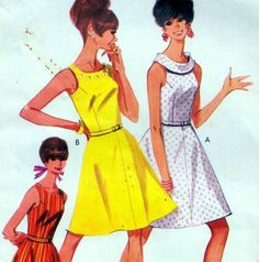 "Vintage 60s Mod DRESS Sewing Pattern Bust 36"" Size 12 Retro FLARED Evening PROM"