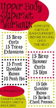 Upper body superset workout to target chest, biceps, triceps, and shoulders. Do 3 to 4 sets of at least 12 reps. #supersets