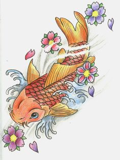 koi fish in water drawing - Google Search