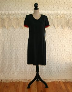 90s Simple Black Dress Short Sleeve Black Dress by MagpieandOtis