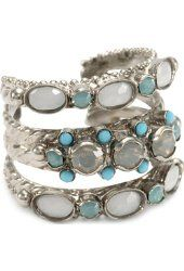 Sorrelli Pacific Opal, Light Gray Opal, Turquoise, Adjustable Ring