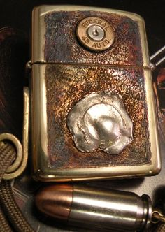 Zippo Defense,in the pocket when a gun was fired at a man the Zippo saved his life,this is not the original the original is pictured futher down on my board!