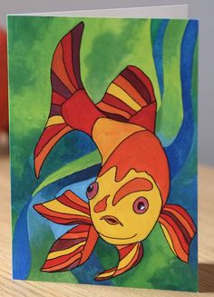 Goldfishfinger greetings card from original gouache by TortleArt