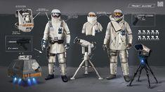Snooper - development Development for game cinematic 2016 Star Wars Concept Art, Star Wars Fan Art, Star Wars Battlefront 3, Star Wars Rpg, Star Trek, Cold Weather Gear, Galactic Republic, Future Soldier, Military Armor