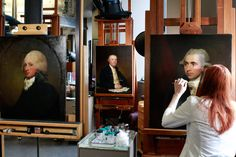Conservation renews paintings of founding fathers by American artist Gilbert Stuart.  The colors are so different after it's cleaned!!!