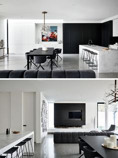 Modern Dining Room Plancolorss This Modern House Has An Open Plan Living Room Dining Room Open Plan Kitchen Dining Living, Open Plan Living, Living Room Kitchen, Living Room Modern, Living Rooms, Interior Design Kitchen, Modern Interior Design, Black And White Dining Room, Street House