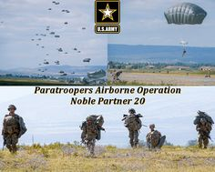 U.S. Paratroopers, assigned to the 173rd Airborne Brigade, conduct an airborne operation during the Noble Partner 20 exercise at Vaziani Training Area, Georgia. Paratrooper, Us Army, Exercise, Movie Posters, Ejercicio, Film Poster, Excercise, Exercise Workouts, Sport