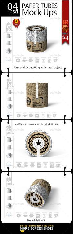 Paper Tubes Mock Up - Product Mock-Ups Graphics