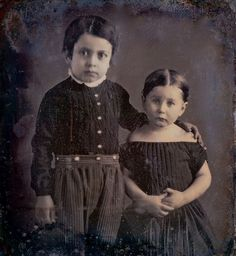 Big Brother, Little Sister, 1/6-Plate Daguerreotype, Circa 1849