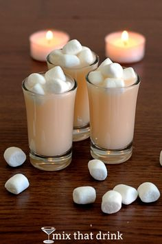 Marshmallow Shooter - a cocktail I came up with when I was trying to make a drink that tasted like a marshmallow. It's vanilla, sweet and just a little bit buttery. Not exactly marshmallow, but good. Easy Alcoholic Drinks, Vodka Drinks, Party Drinks, Fun Drinks, Yummy Drinks, Bourbon Drinks, Mixed Drinks, Cocktail Shots, Cocktail Desserts