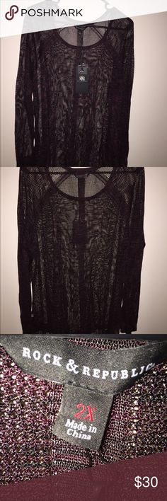 NWT Rock and Republic  openwork tunic. Size 2x Beautiful! NWT Rock and Republic tunic. Wine and black knit ( close up photo shows color the best). Thin, not bulky knit, asymmetrical hem. Very stylish -a cool piece   Size 2x Rock & Republic Tops Tunics