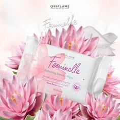 20 toallitas refrescantes a prueba de alergias, que respetan el PH natural de tu piel y están enriquecidas con ácido láctico, vitaminas y extracto de flor de loto. #Feminelle #CuidadoFemenino #OriflameMX