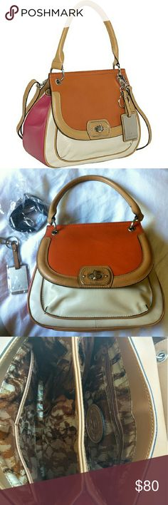 """Etienne Aigner Valencia Top Handle Blogger fave! Gorgeous leather Etienne Aigner Valencia Color Block Top Handle Satchel in cream, orange, and pink. Flap and turn-lock closure w/ two main compartments, a magnetic snap back pocket, and a small front pocket. Back and interior are fully lined w/ python print. One back wall zipper pocket and two electronics pockets. 7' drop top handle and a removable/adjustable cross body strap for carrying versatility. Approx 10""""x10""""x4"""". Minor scratches(last…"""