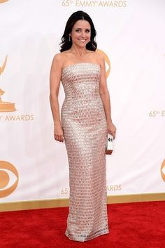 Julia Louis-Dreyfus Photos - Actress Julia Louis-Dreyfus arrives at the Annual Primetime Emmy Awards held at Nokia Theatre L. Live on September 2013 in Los Angeles, California. - Arrivals at the Annual Primetime Emmy Awards — Part 5 Julia Louis Dreyfus, Monique Lhuillier, Silver Dress, Dress Picture, Trends, Couture, Red Carpet Looks, Red Carpet Dresses, Red Carpet Fashion