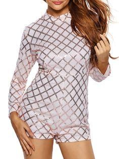57da5bcdc82 Stunning Band Collar Plaid Long Sleeve Romper Plaid Fashion
