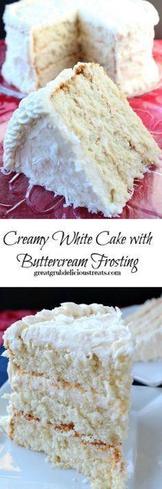 Creamy White Cake with Buttercream Frosting Cremeweißer Kuchen mit dem Buttercreme-Bereifen Frosting Recipes, Cupcake Recipes, Buttercream Frosting, Baking Recipes, Cupcake Cakes, Dessert Recipes, White Buttercream, Cake Cookies, Fondant Recipes
